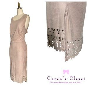 Cato Desert Sand Ultra Suede High/Low Dress